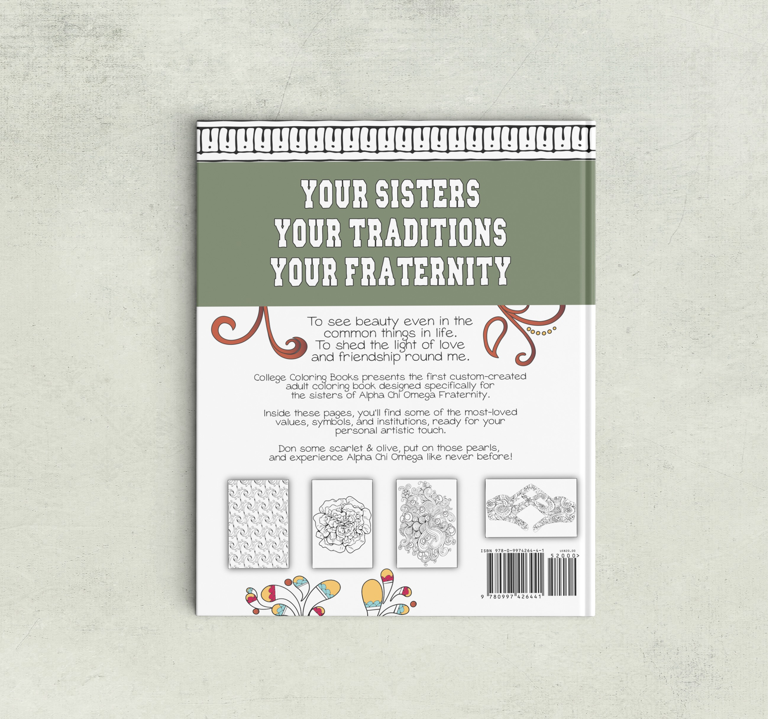 College Coloring Books Alpha Chi Omega Book Back Cover