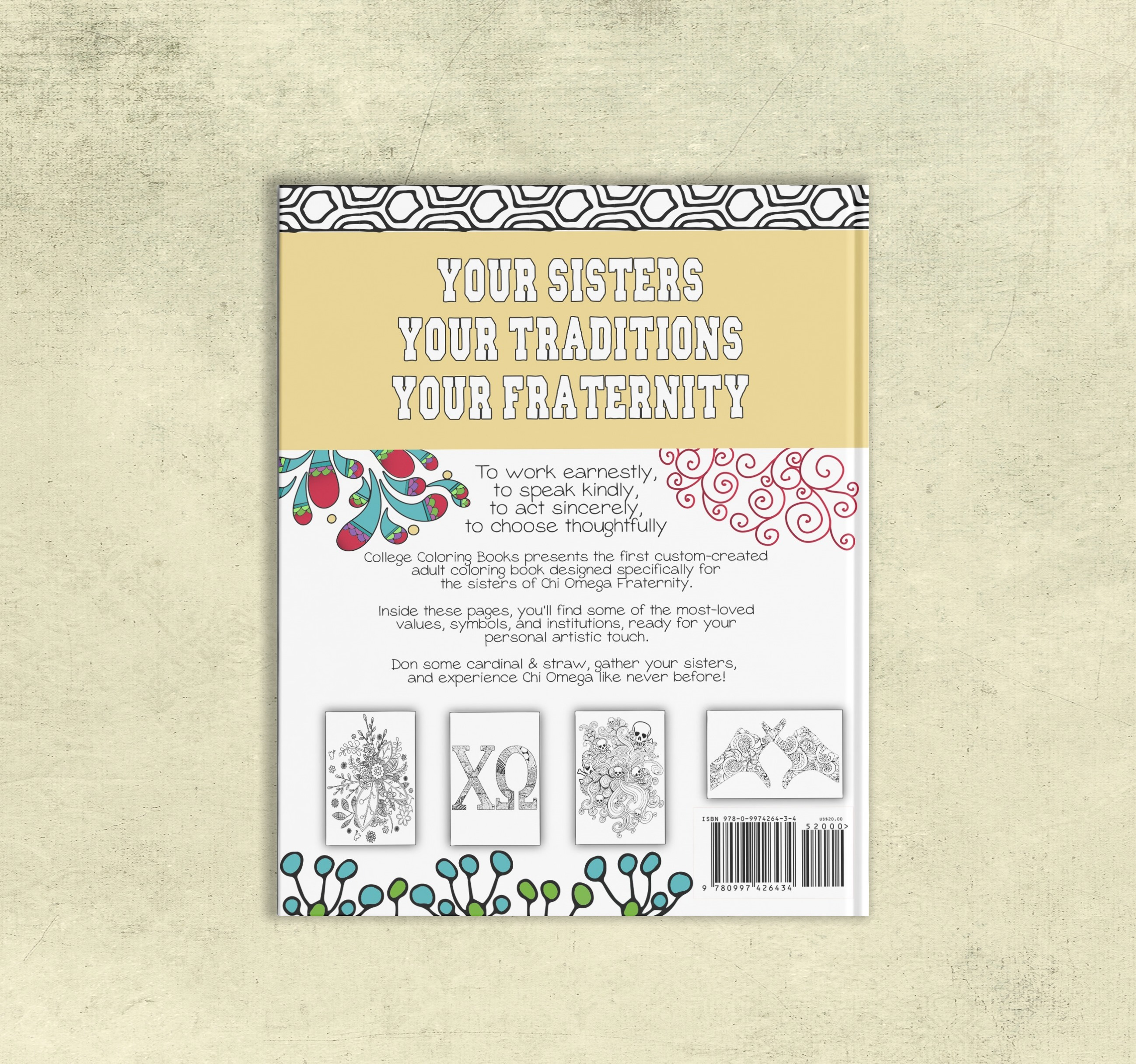 College Coloring Books Chi Omega Coloring Book Cover - Back