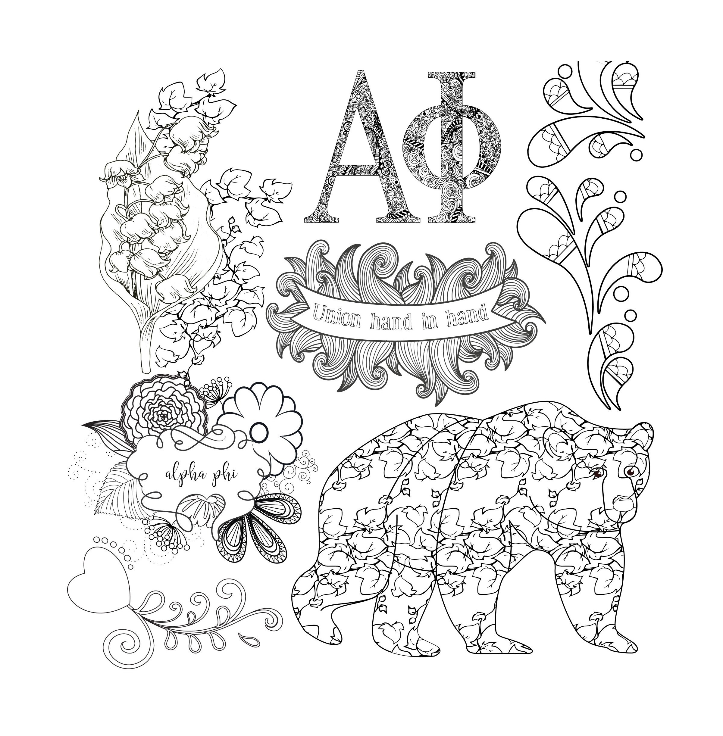 Alpha Phi Adult Coloring Book - College Coloring Books