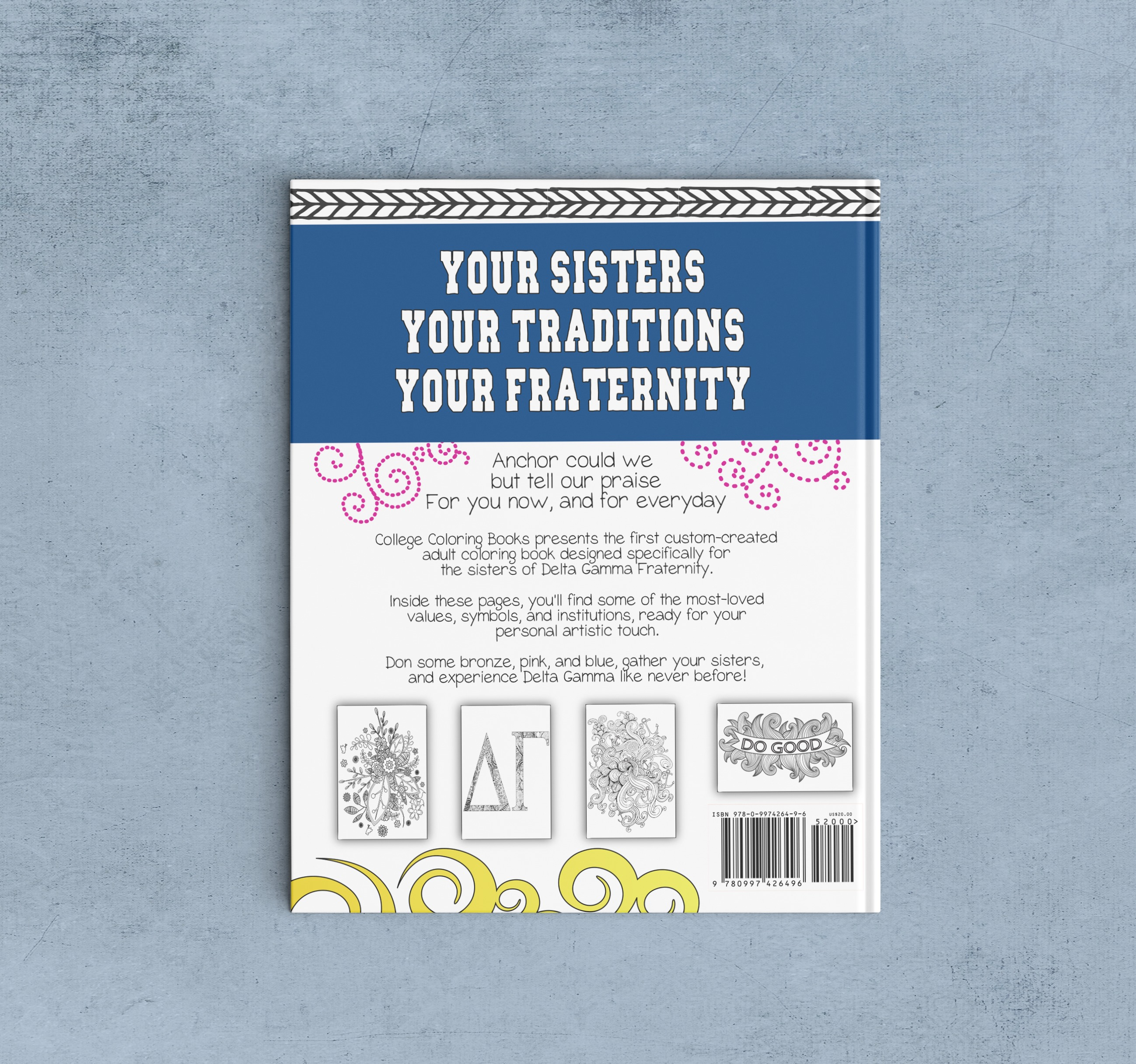 College Coloring Books Delta Gamma Coloring Book Cover - Back