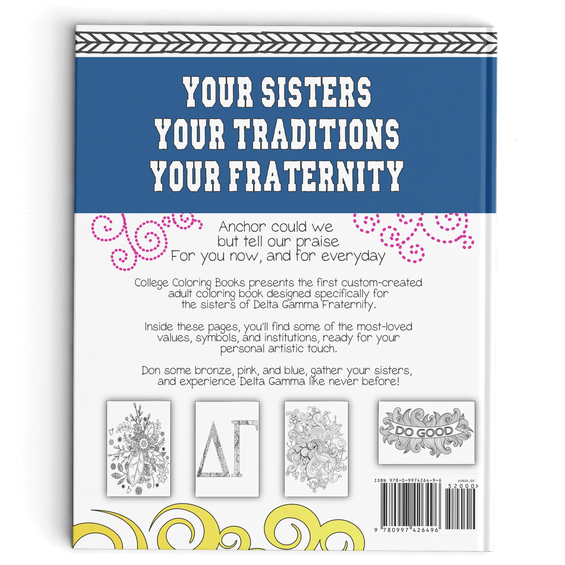 College Coloring Books Delta Gamma Back Cover