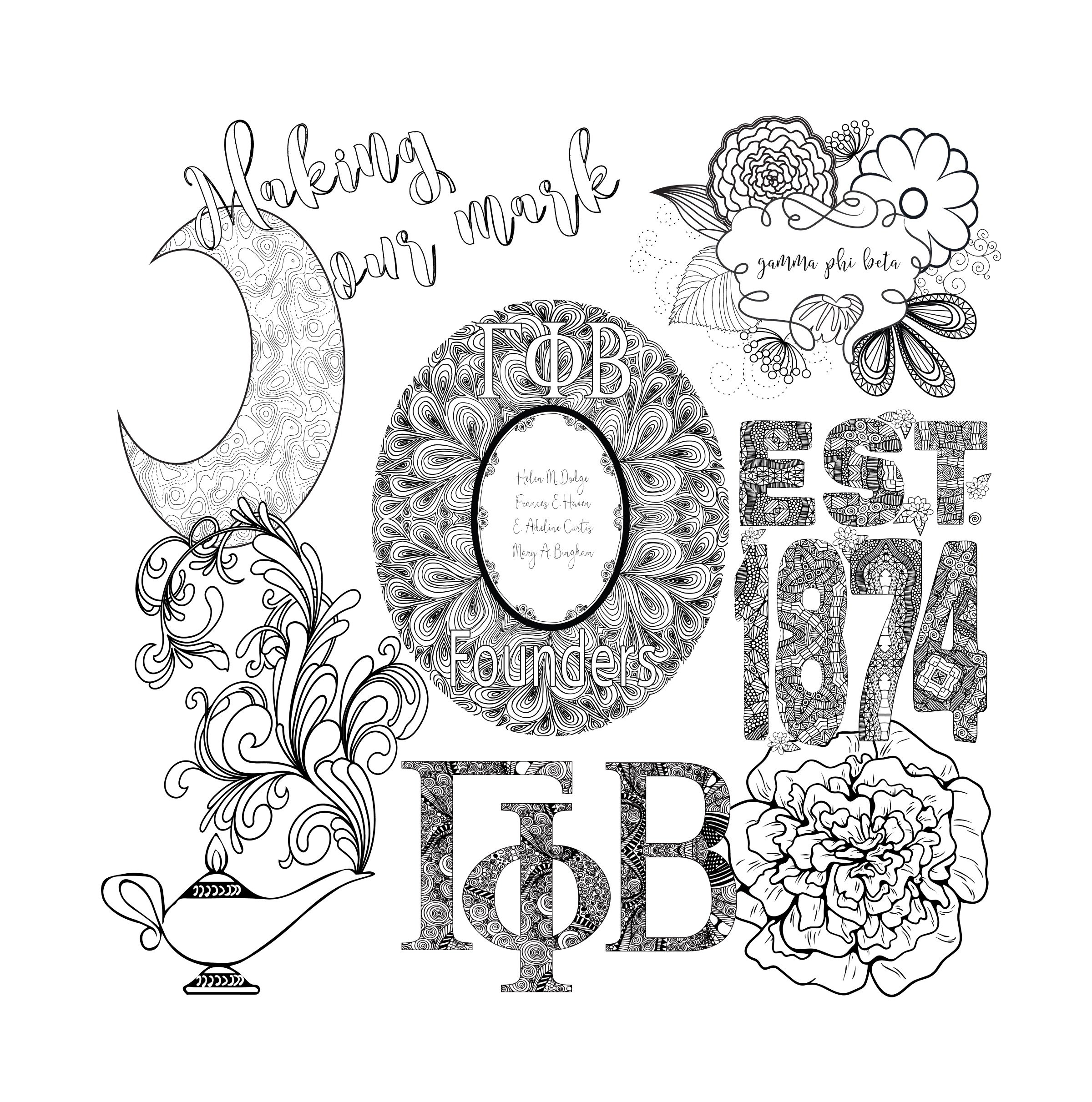 Gamma Phi Beta Coloring Page Preview