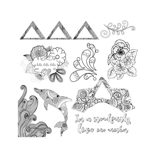 College Coloring Books TriDelta Coloring Page Preview