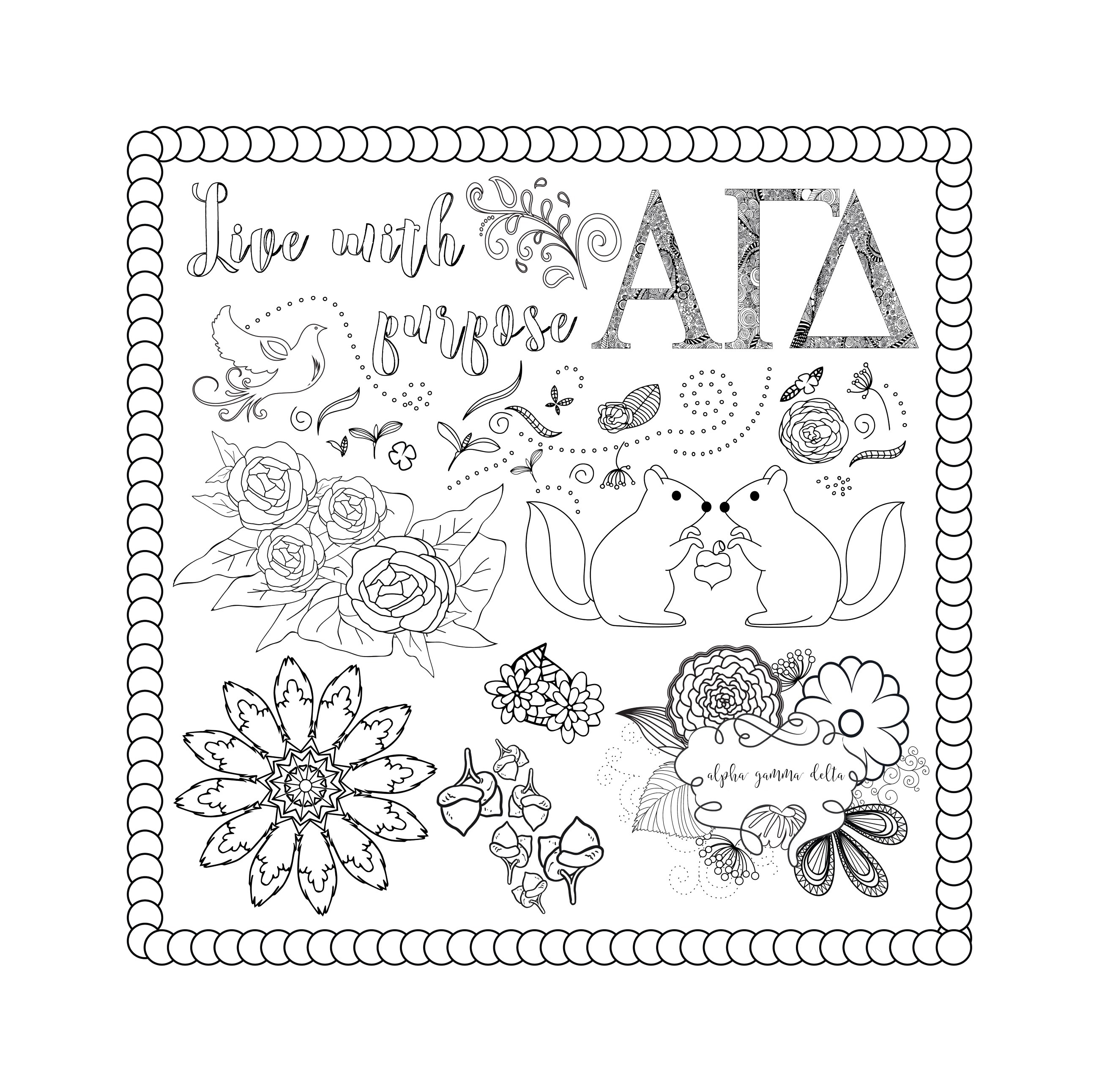 Alpha Gamma Delta Coloring Book Preview
