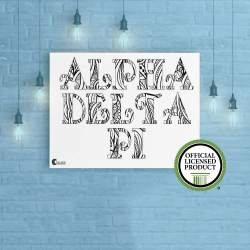 College Coloring Books Alpha Delta Pi Coloring Poster Greek Licensed