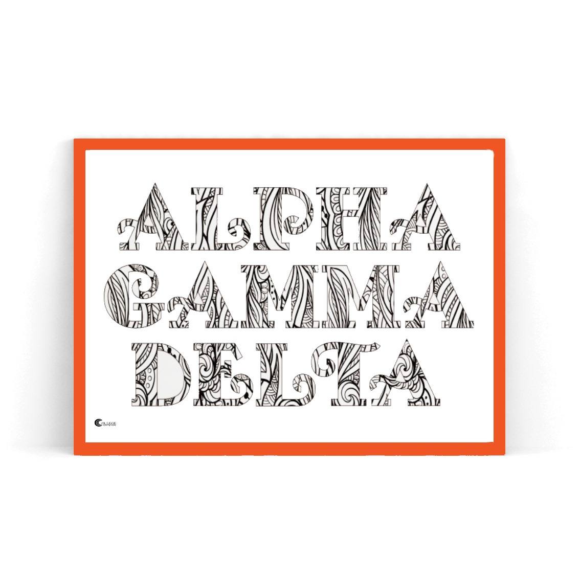 College Coloring Books Alpha Gamma Delta Coloring Poster in Red Frame