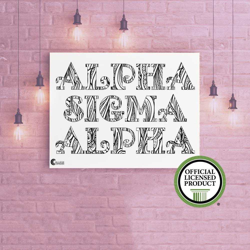 College Coloring Books Alpha Sigma Alpha Coloring Poster Greek Licensed