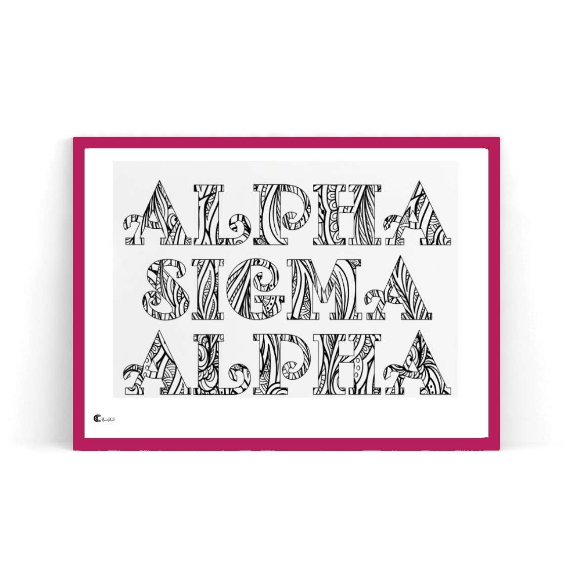 College Coloring Books Alpha Sigma Alpha Coloring Poster in Red Frame
