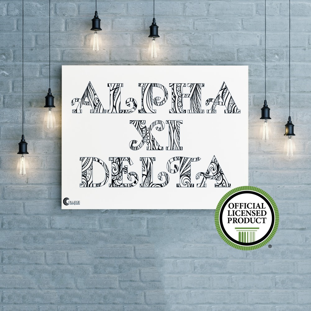 College Coloring Books Alpha Xi Delta Coloring Poster Greek Licensed
