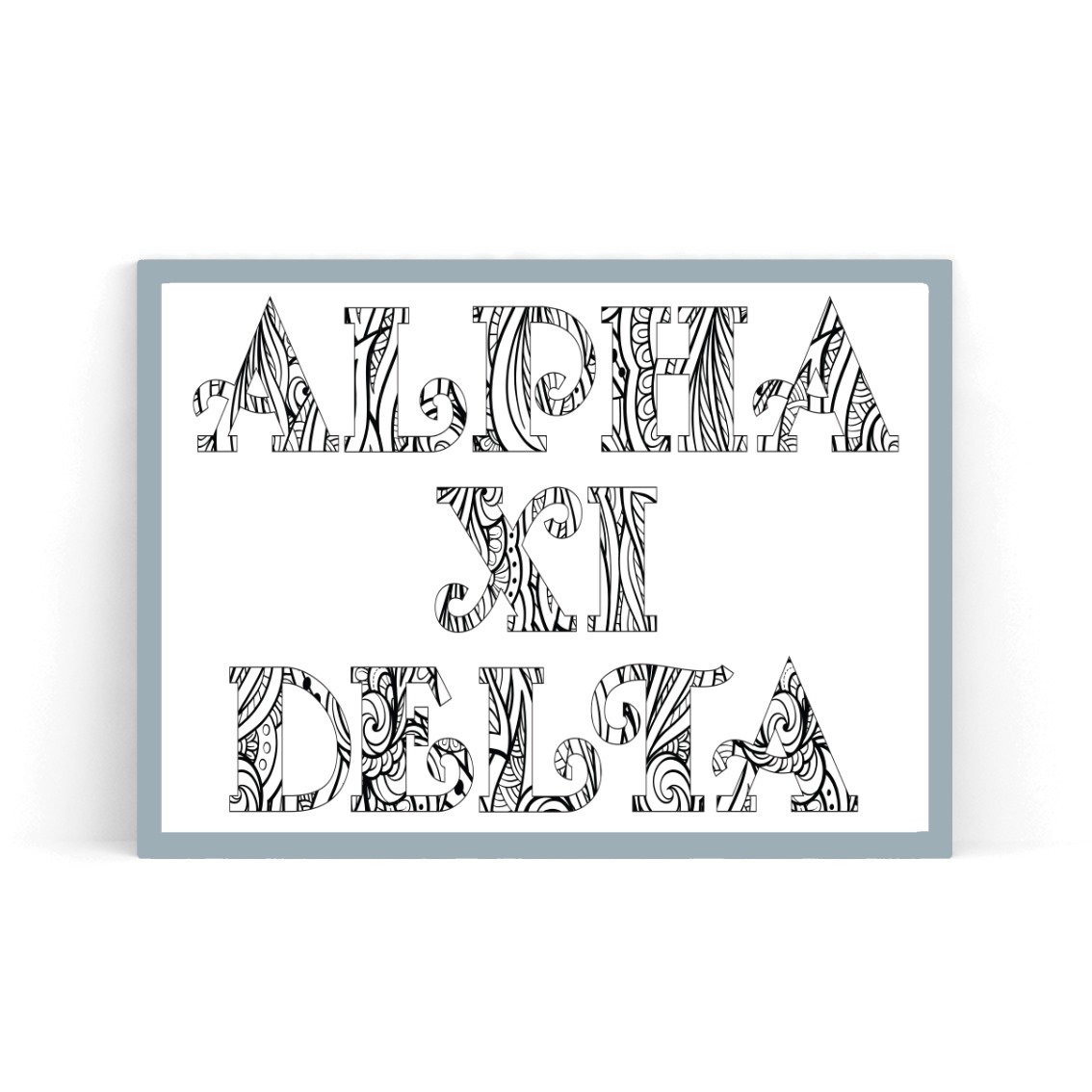 College Coloring Books Alpha Xi Delta Coloring Poster in Frame