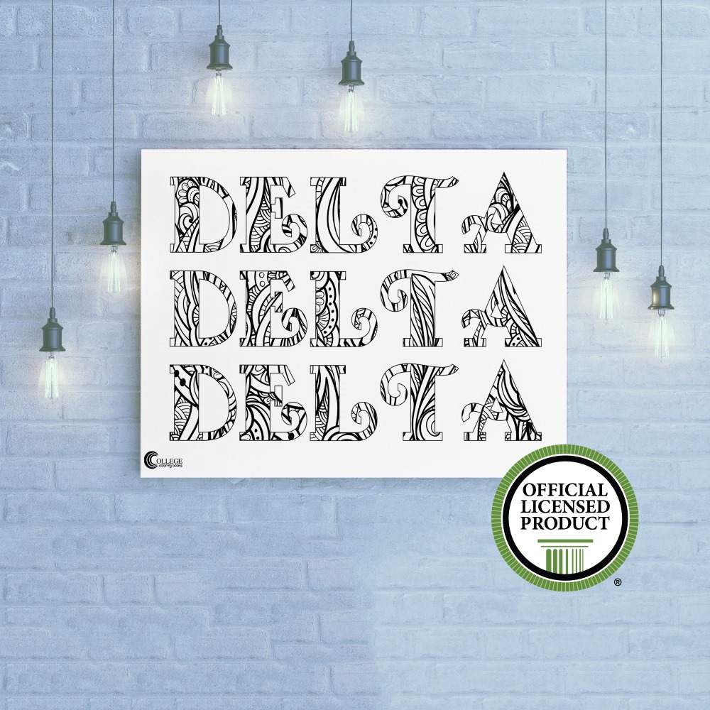 College Coloring Books Delta Delta Delta Coloring Poster Greek Licensed