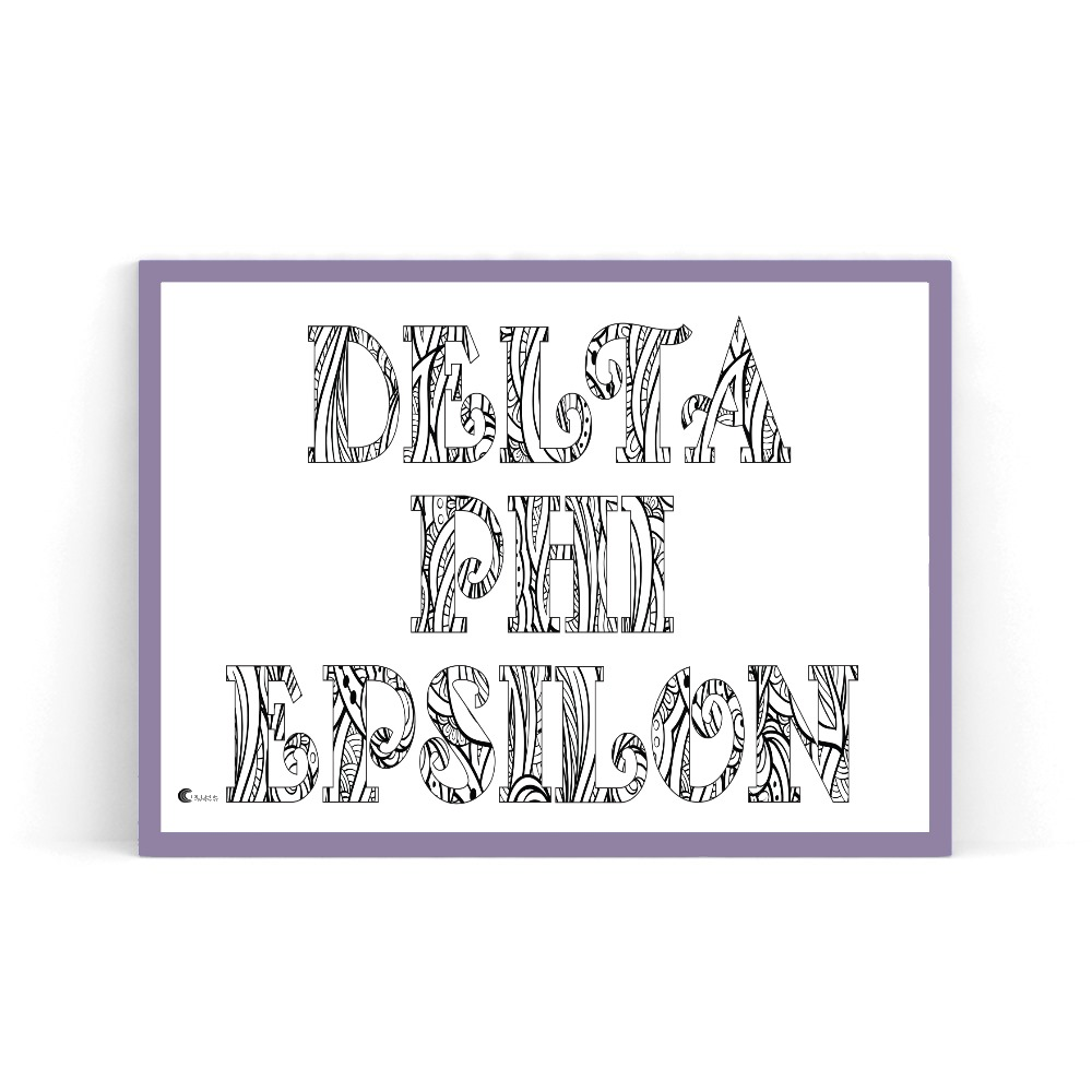 Delta Phi Epsilon Coloring Poster in Purple Frame