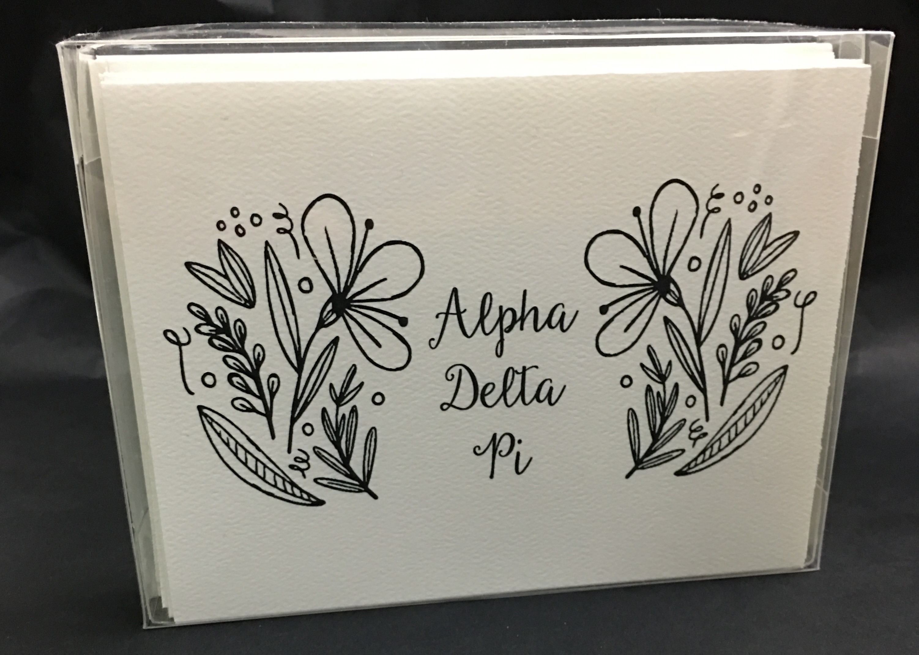 Double Flower Alpha Delta Pi Coloring Notecards