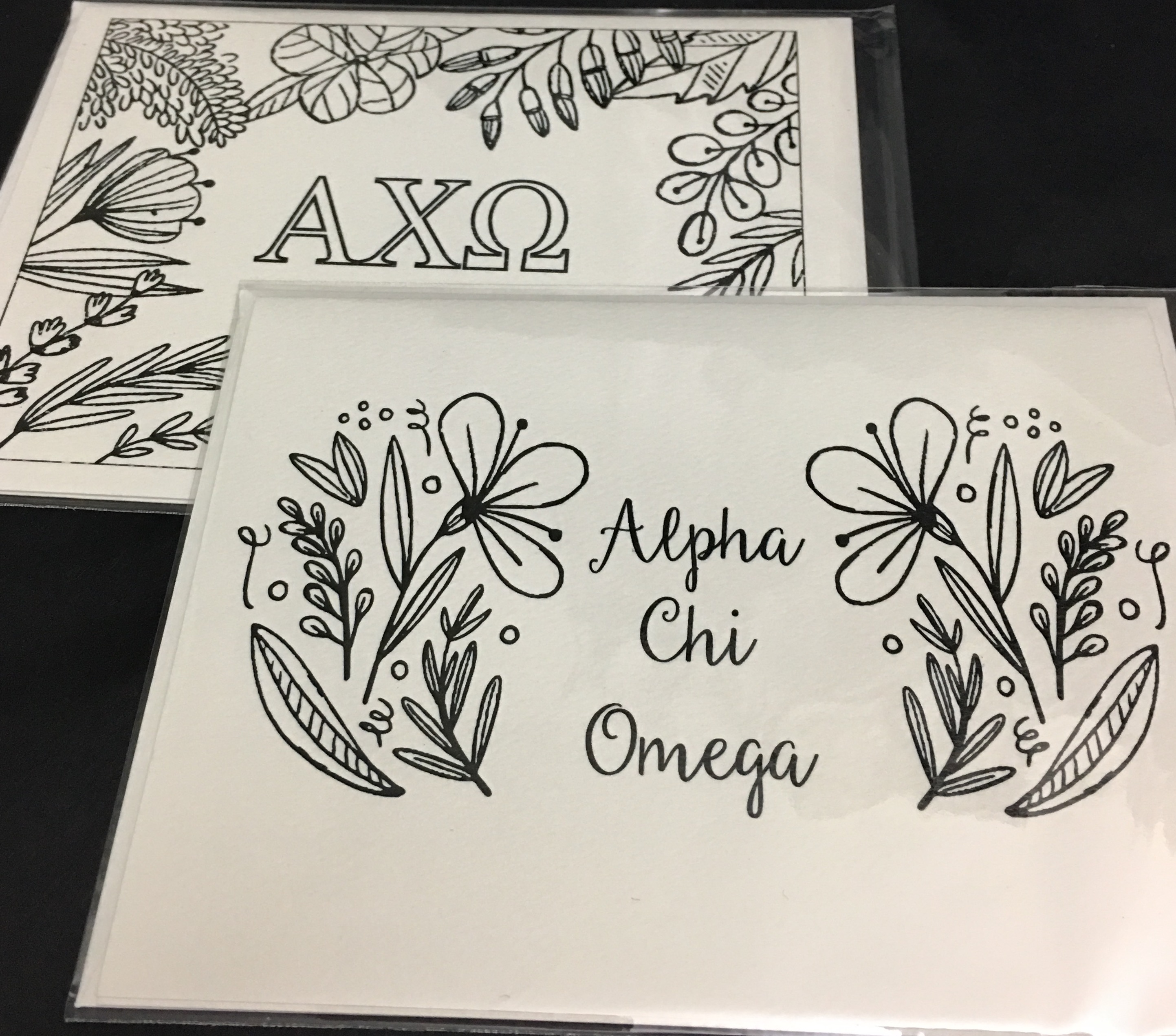 Alpha Chi Omega Custom Coloring Notecards