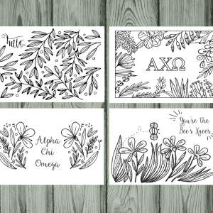 Alpha Chi Omega coloring notecards