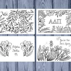 Set of 12 Alpha Delta Pi Coloring Notecards