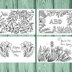 Set of 12 Alpha Epsilon Phi Coloring Notecards
