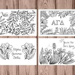 Set of 12 Alpha Gamma Delta Coloring Notecards