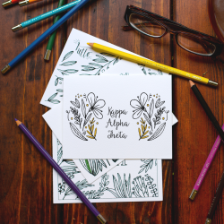 College Coloring Books Kappa Alpha Theta Coloring Notecards