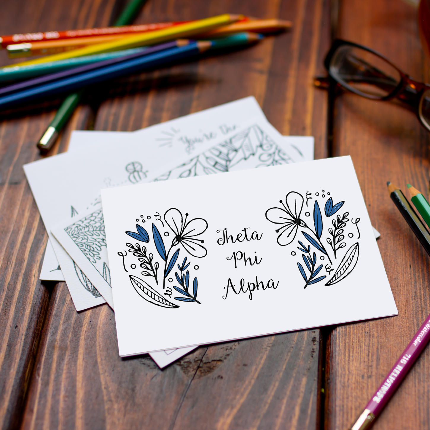 College Coloring Books Theta Phi Alpha Coloring Notecards