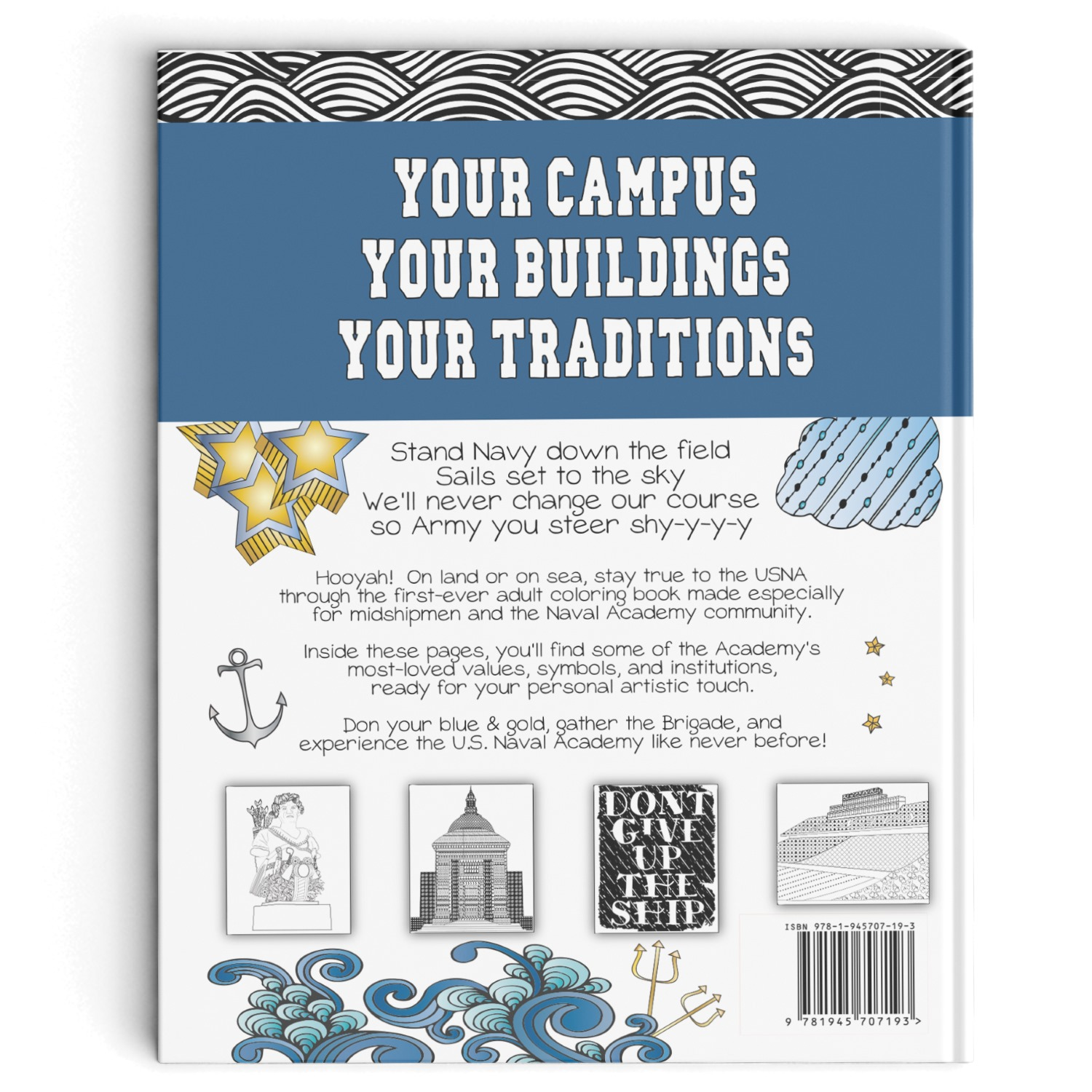 Cookbook Back Cover : College coloring books color your own u s naval academy