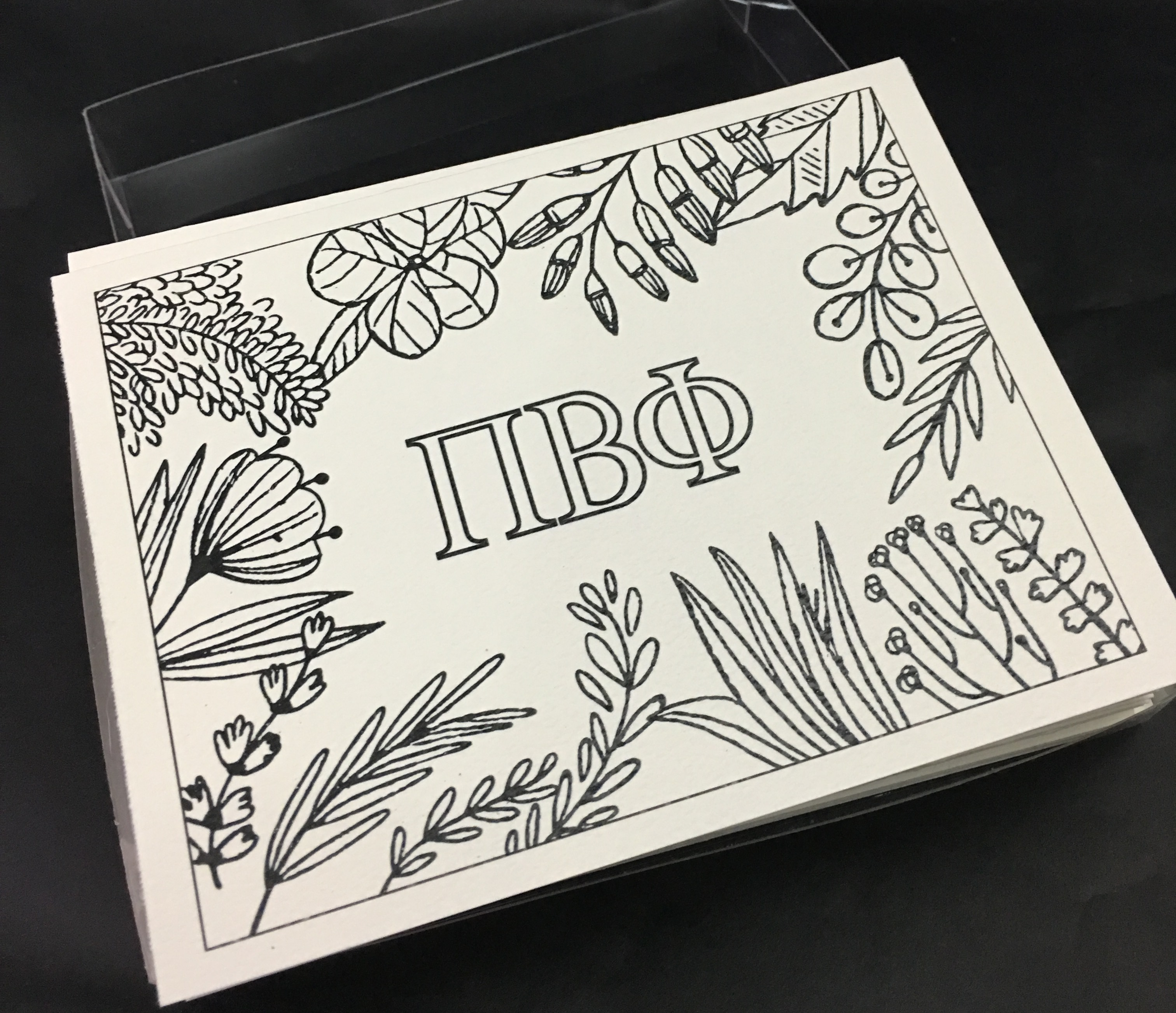 Set of 12 Pi Beta Phi Coloring Notecards