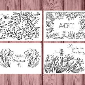 Alpha Omicron Pi AOII Coloring Notecards