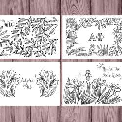 Alpha Phi Coloring Notecards