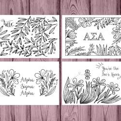 Alpha Sigma Alpha Coloring Notecards
