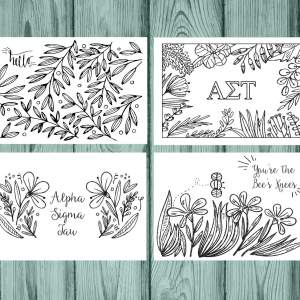 Alpha Sigma Tau Coloring Notecards
