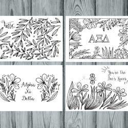 Alpha Xi Delta Coloring Notecards