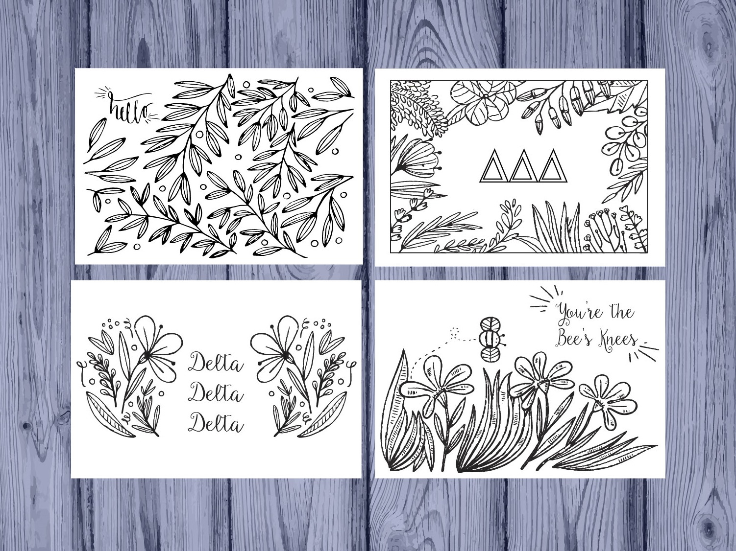 Set of 12 Delta Delta Delta Coloring Notecards