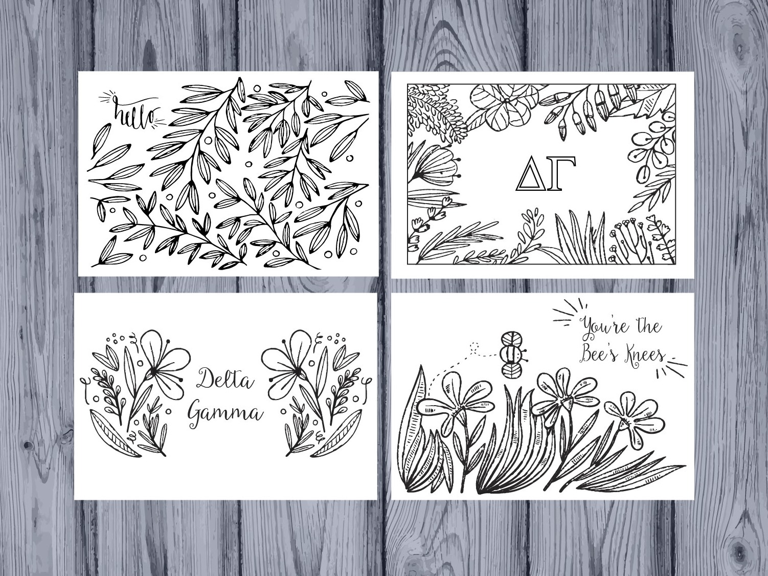 Set of 12 Delta Gamma Coloring Notecards