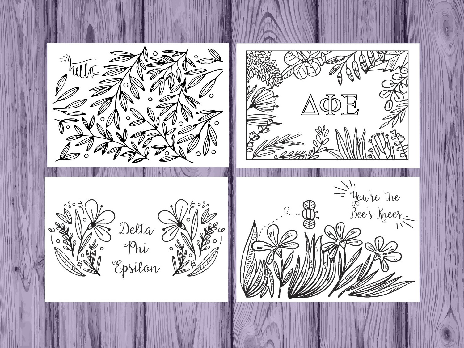Set of 12 Delta Phi Epsilon Coloring Notecards