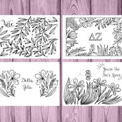 Set of 12 Delta Zeta Coloring Notecards