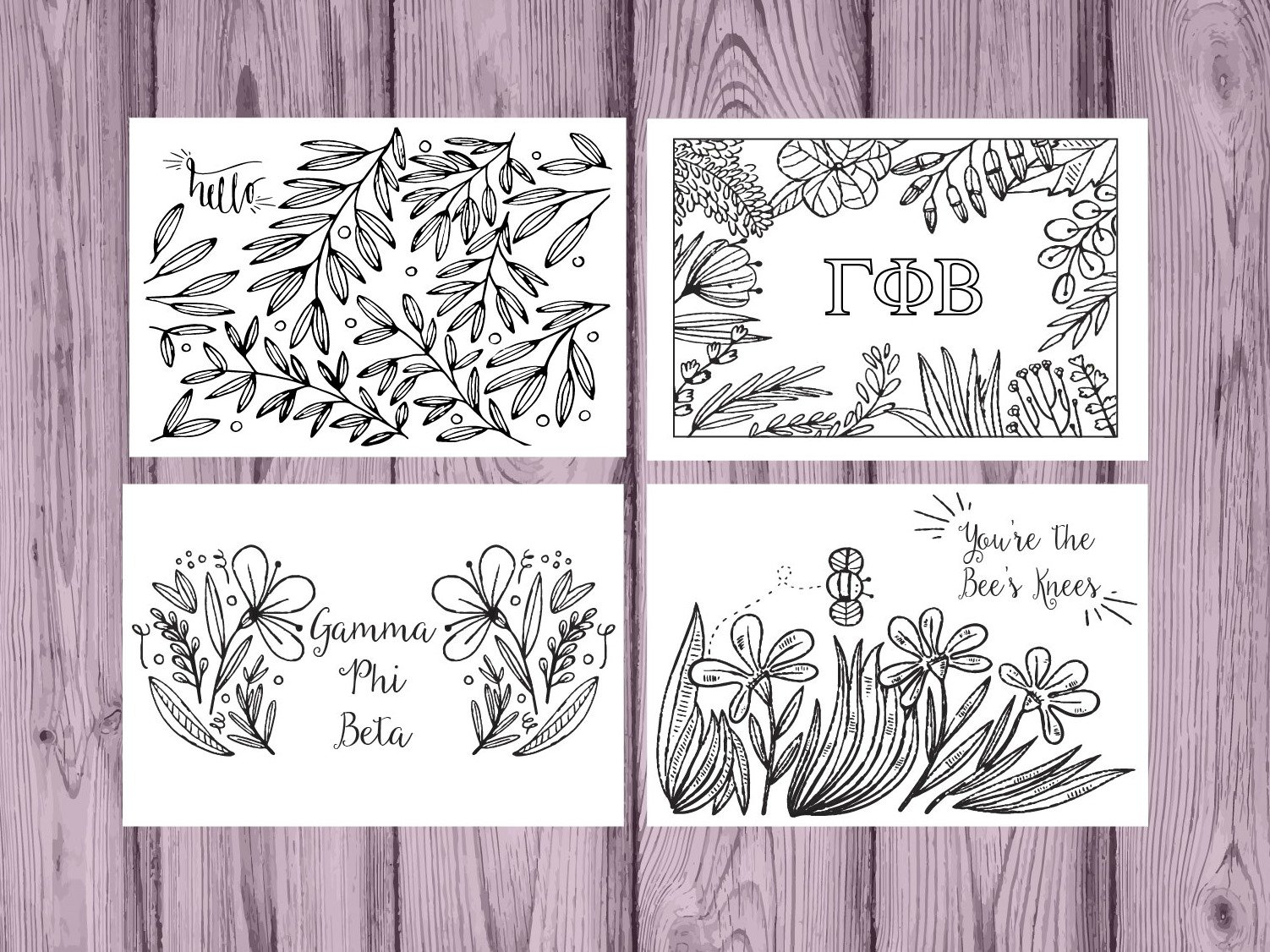 Set of 12 Gamma Phi Beta Coloring Notecards