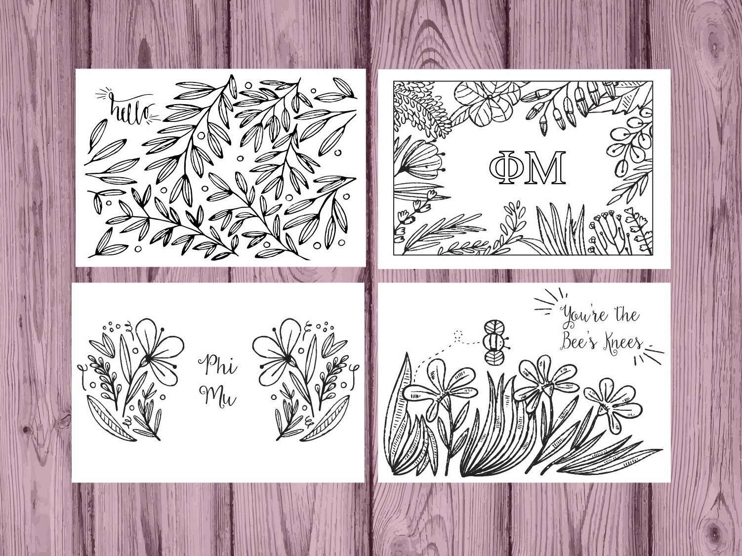 Set of 12 Phi Mu Coloring Notecards