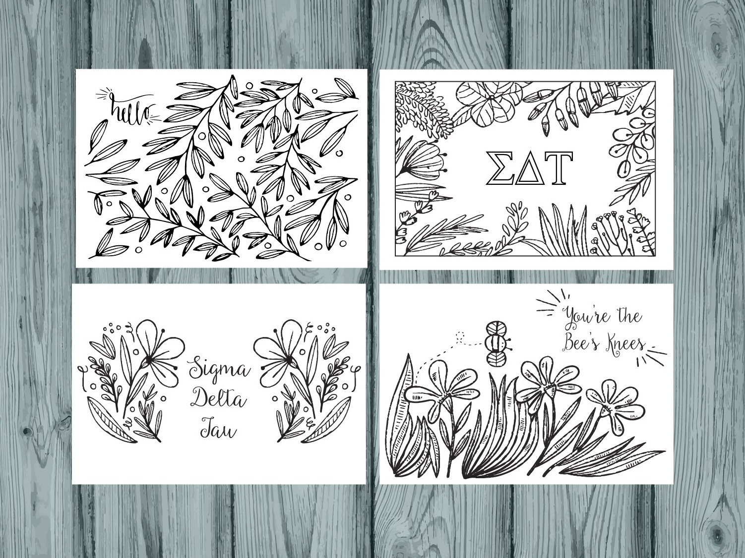 Set of 12 Sigma Delta Tau Coloring Notecards