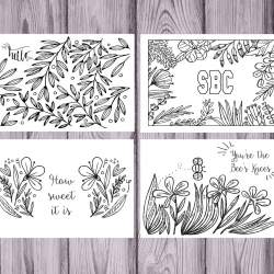 Set of 12 Sweet Briar Coloring Notecards
