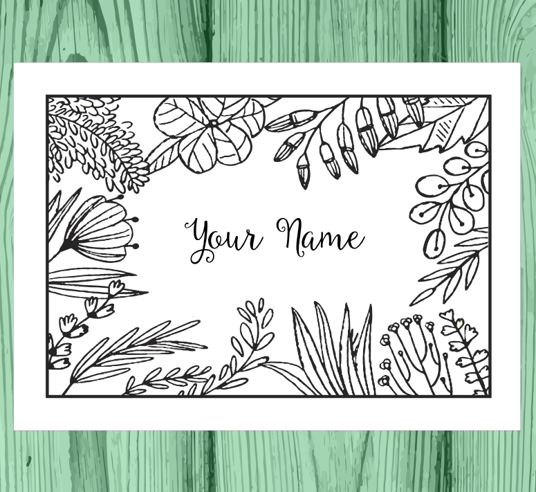 College Coloring Books Personalized Coloring Notecards Your Name One