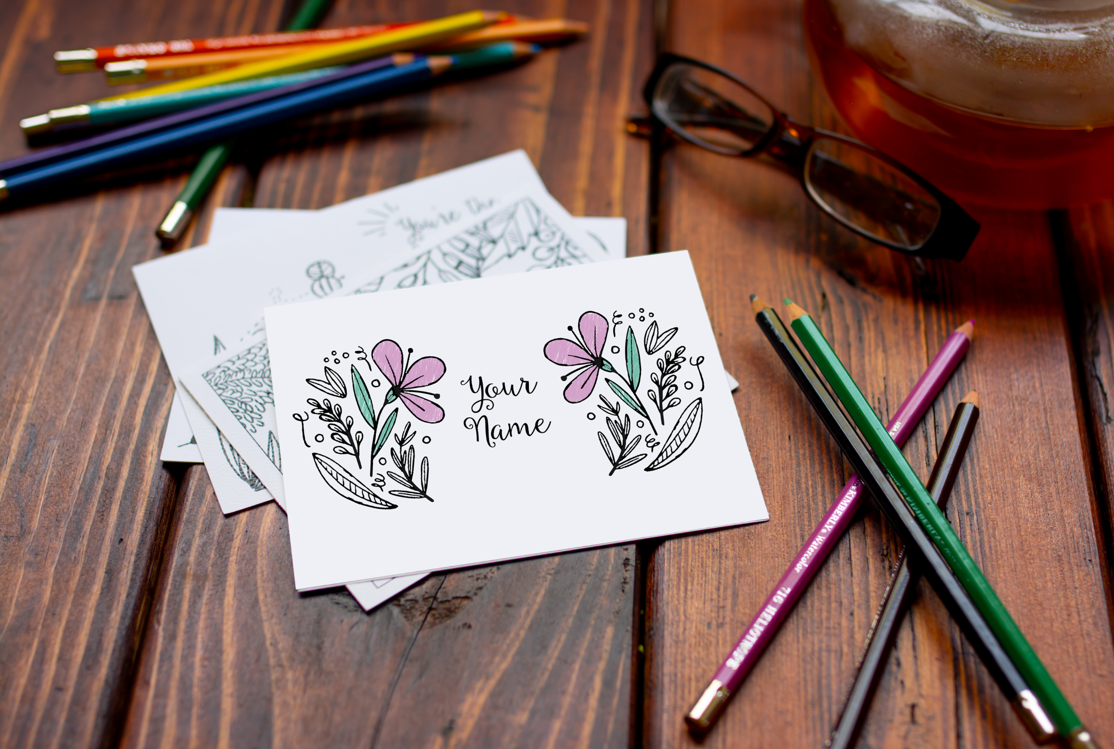 College Coloring Books Personalized Floral Notecards