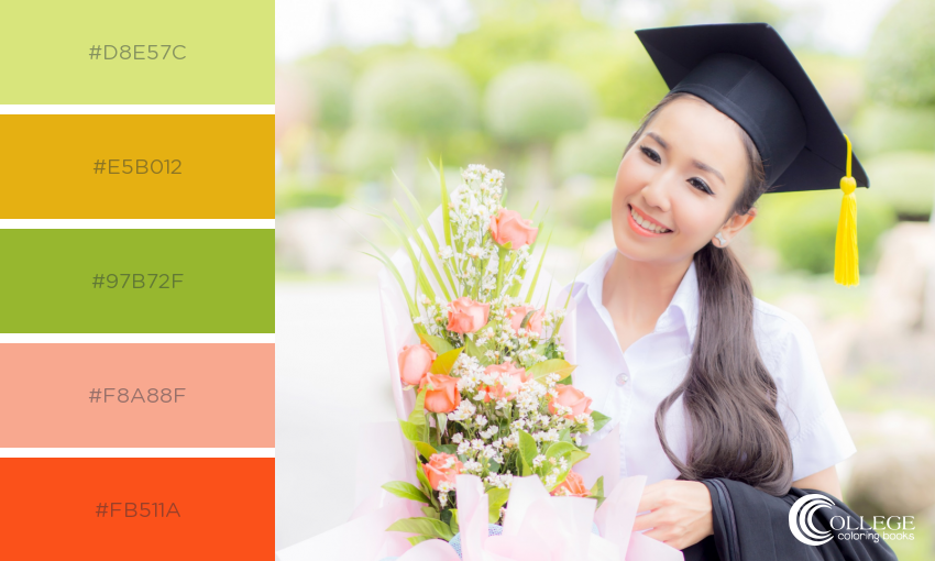 College Coloring Books Colorful Congratulations Class of 2018 Bright Flowers