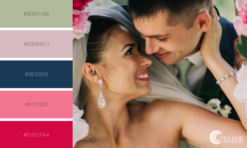 College Coloring Books Wedding Couple Close-up