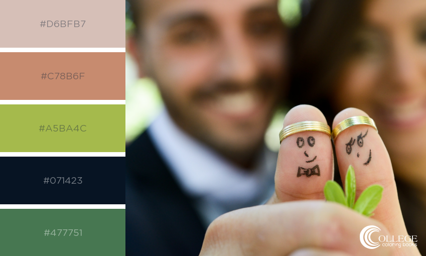 College Coloring Books Wedding Couple Thumb Faces