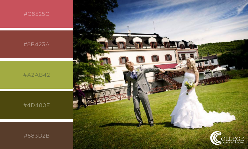 College Coloring Books Wedding Couple on Lawn