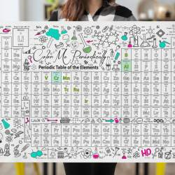 "Woman holding 24""x36"" Periodic Table of the Elements coloring poster"